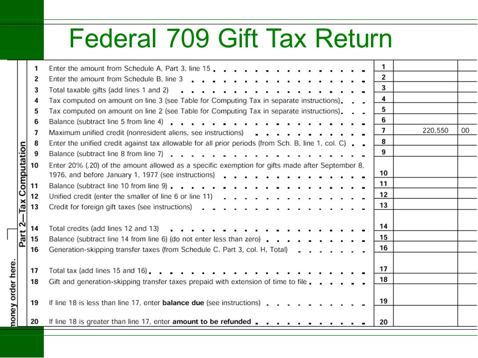 Federal 709 Gift Tax Return