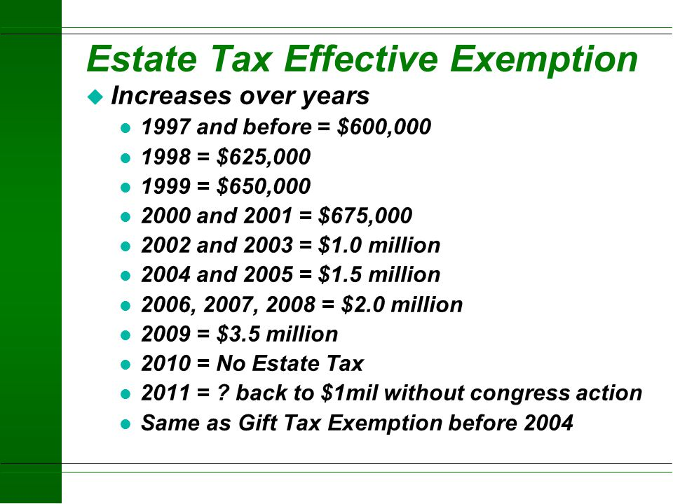 Estate Tax Effective Exemption
