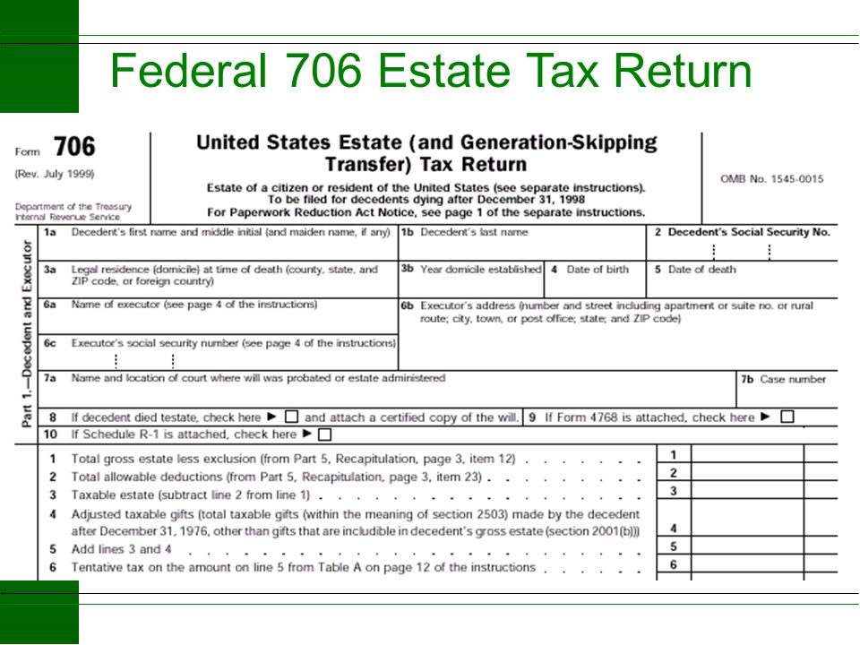 Federal 706 Estate Tax Return