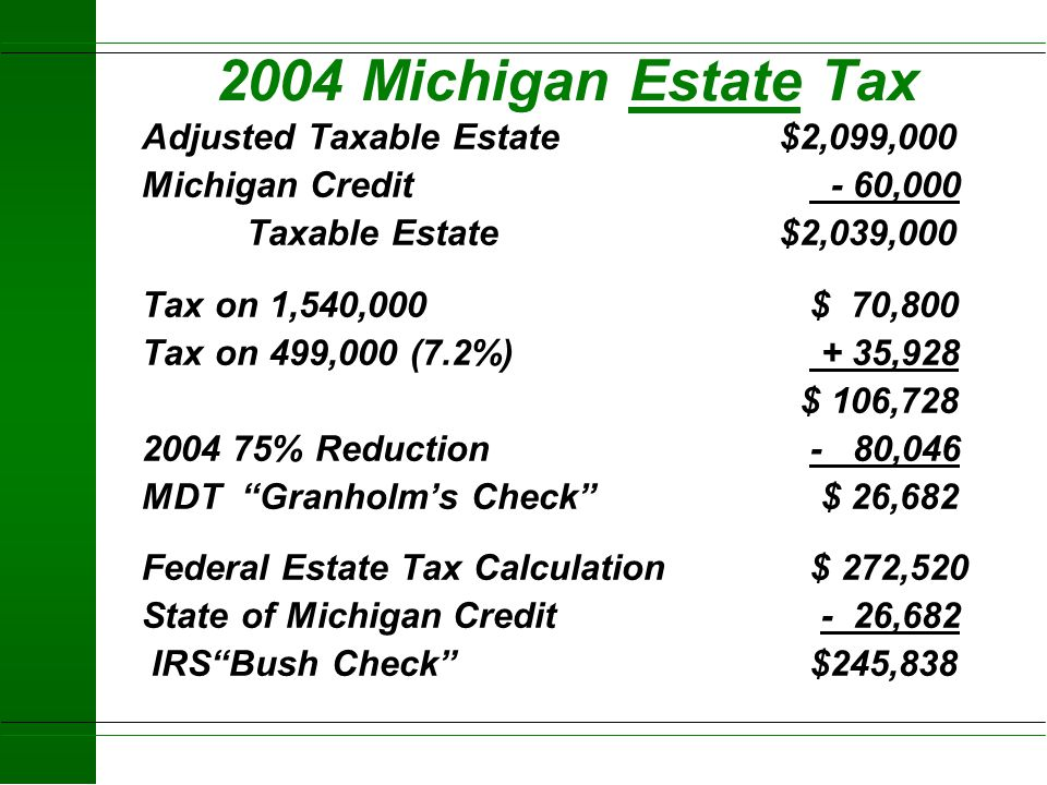 2004 Michigan Estate Tax Adjusted Taxable Estate $2,099,000