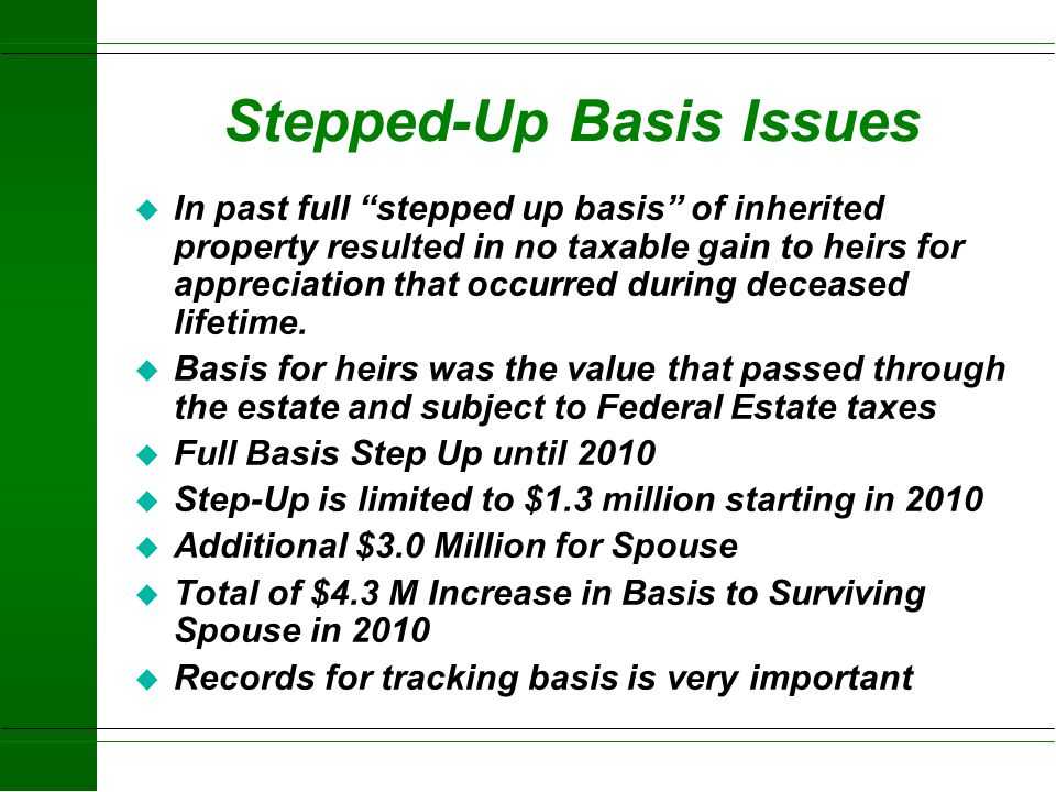 Stepped-Up Basis Issues