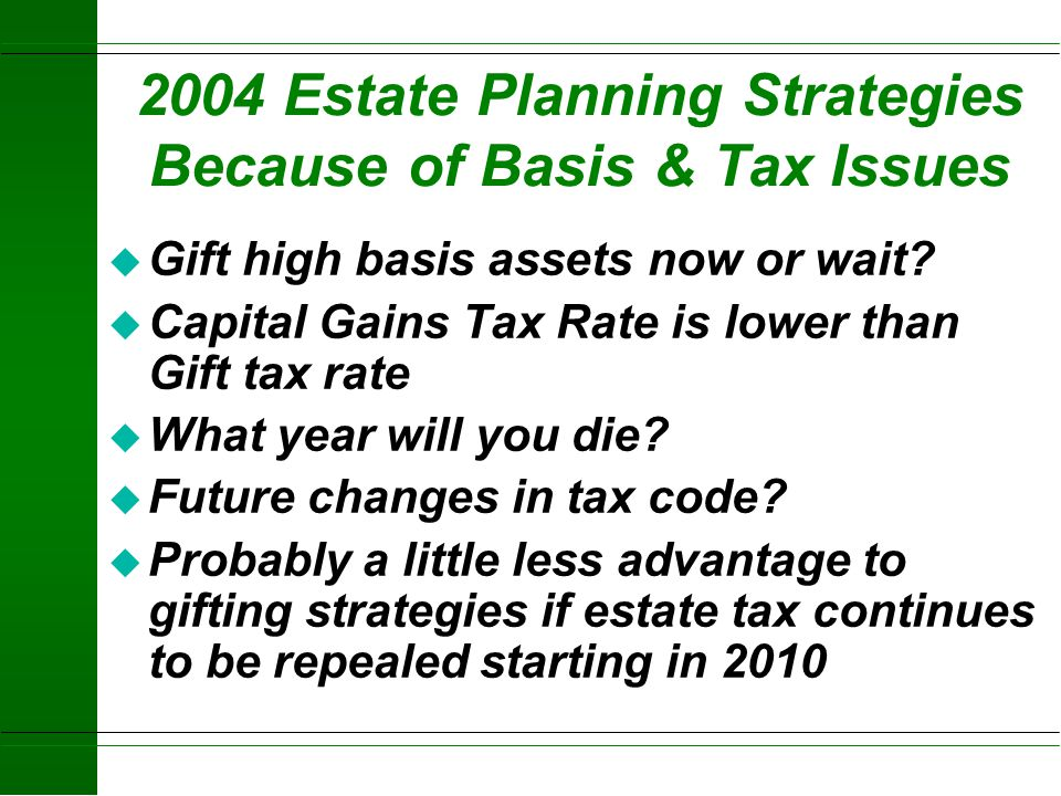 2004 Estate Planning Strategies Because of Basis & Tax Issues