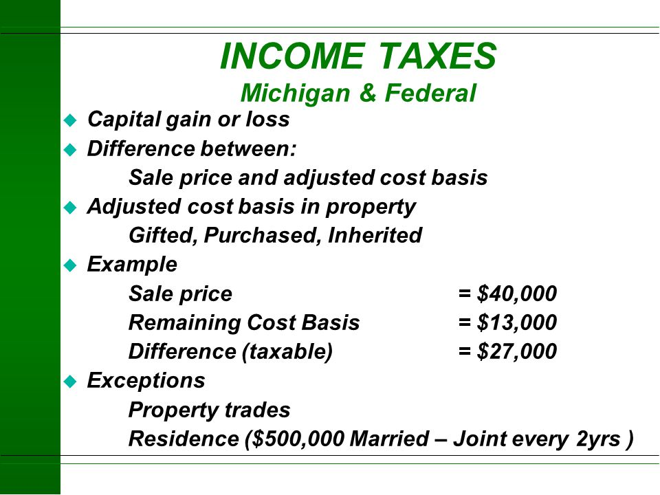 INCOME TAXES Michigan & Federal
