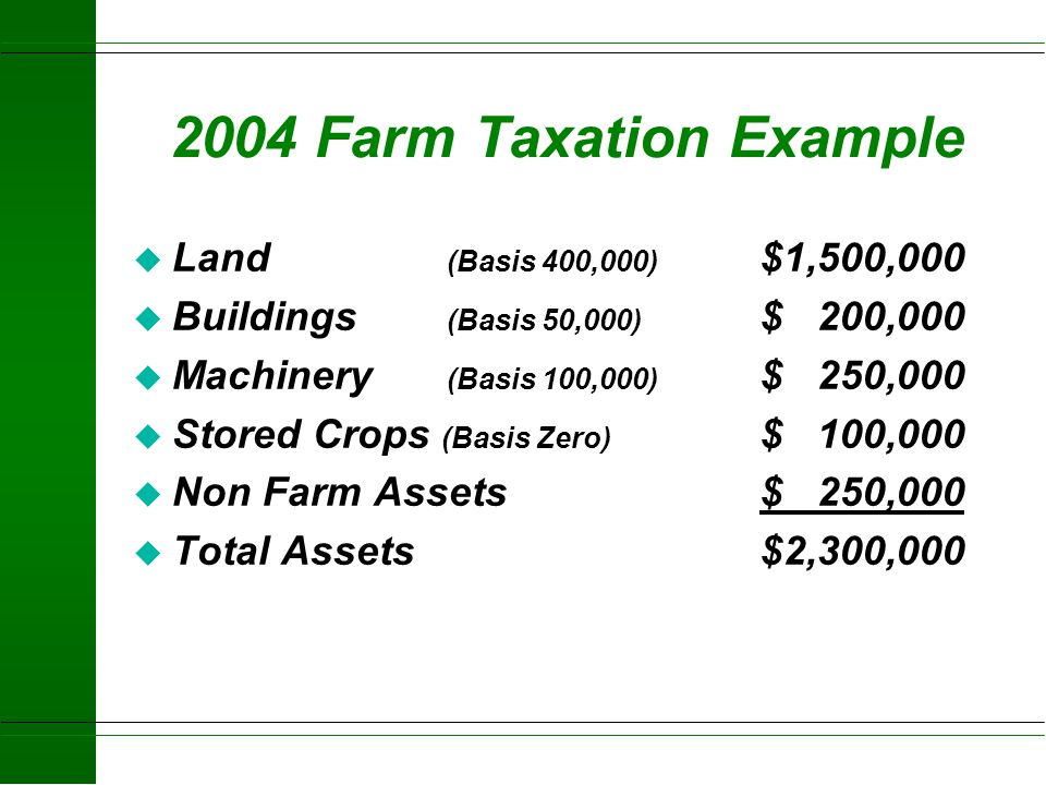 2004 Farm Taxation Example Land (Basis 400,000) $1,500,000
