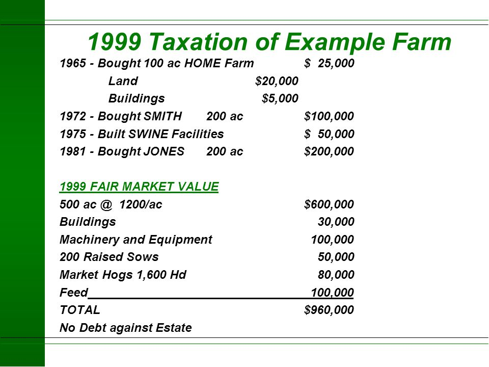 1999 Taxation of Example Farm