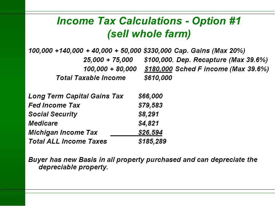 Income Tax Calculations - Option #1 (sell whole farm)