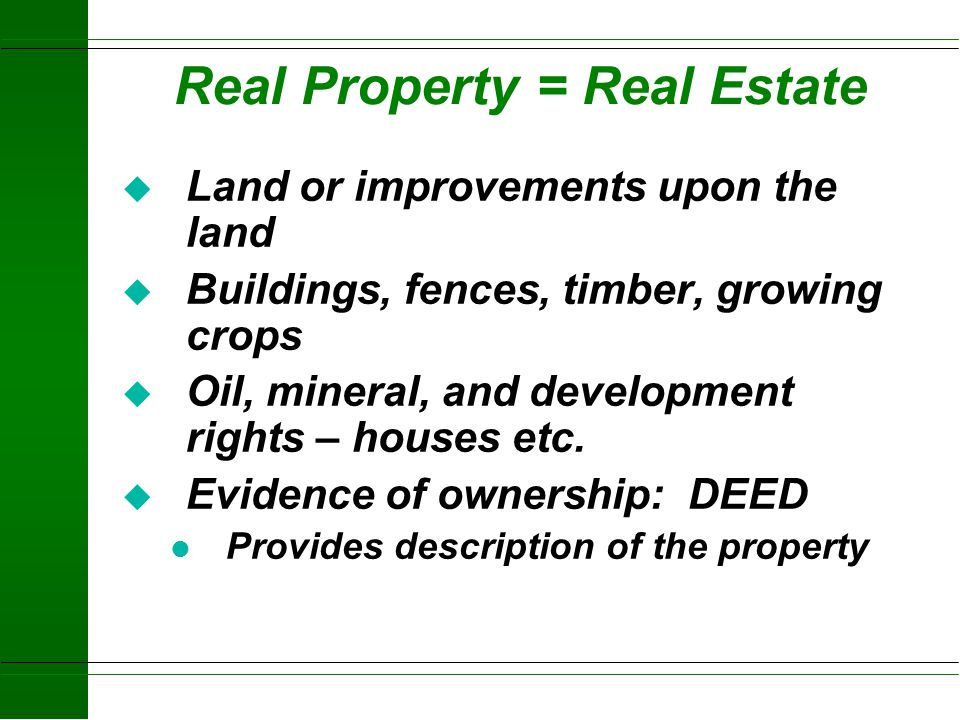 Real Property = Real Estate