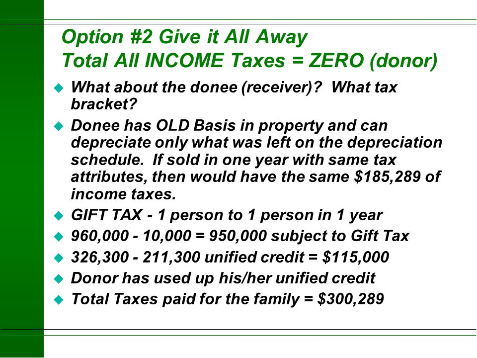 Option #2 Give it All Away Total All INCOME Taxes = ZERO (donor)