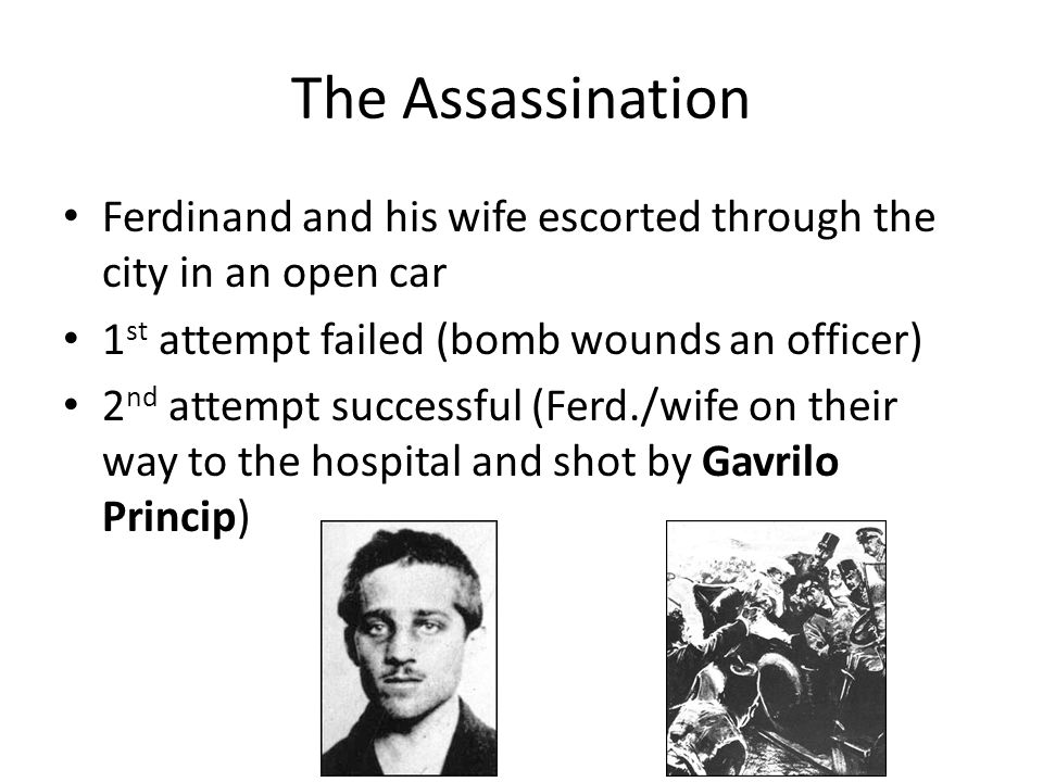 The Assassination Ferdinand and his wife escorted through the city in an open car. 1st attempt failed (bomb wounds an officer)