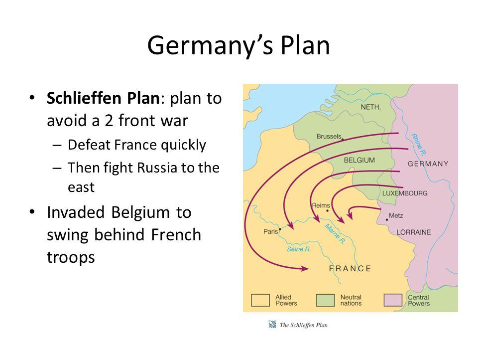 Germany's Plan Schlieffen Plan: plan to avoid a 2 front war