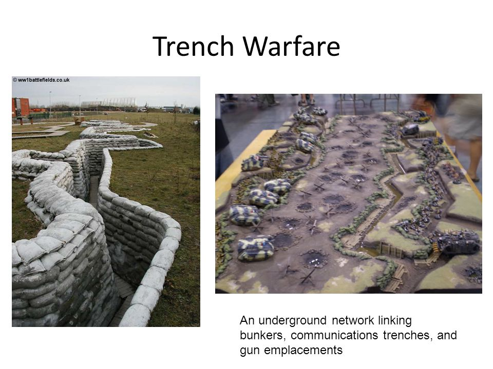 Trench Warfare An underground network linking bunkers, communications trenches, and gun emplacements.