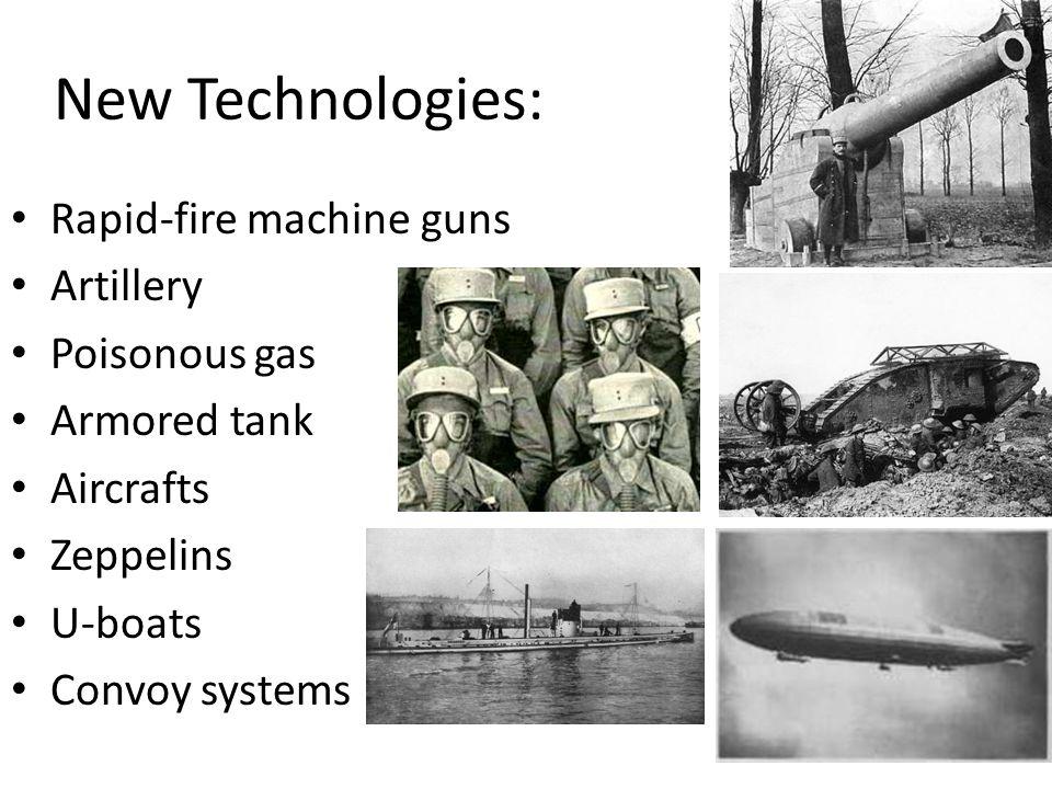 New Technologies: Rapid-fire machine guns Artillery Poisonous gas
