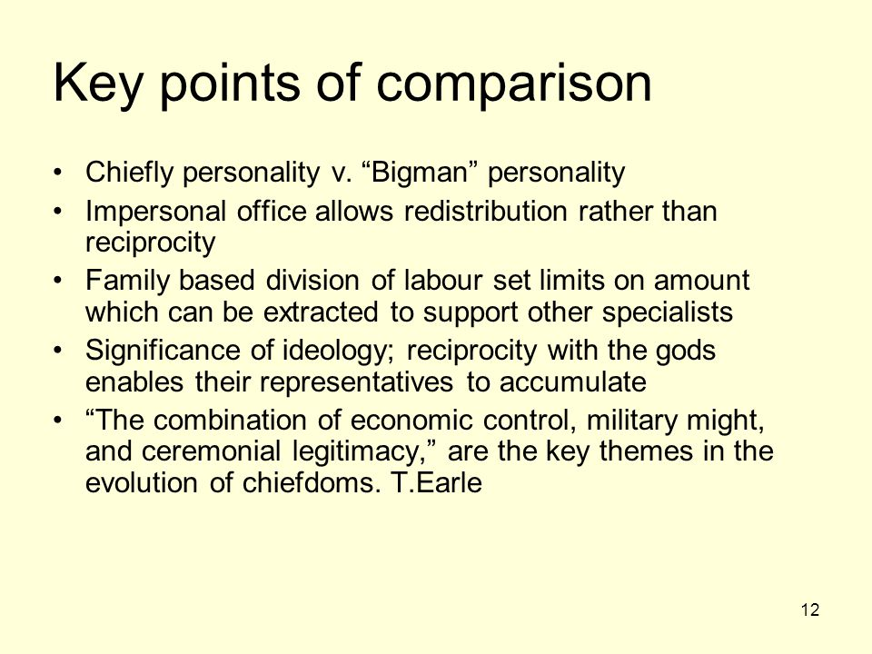 Key points of comparison