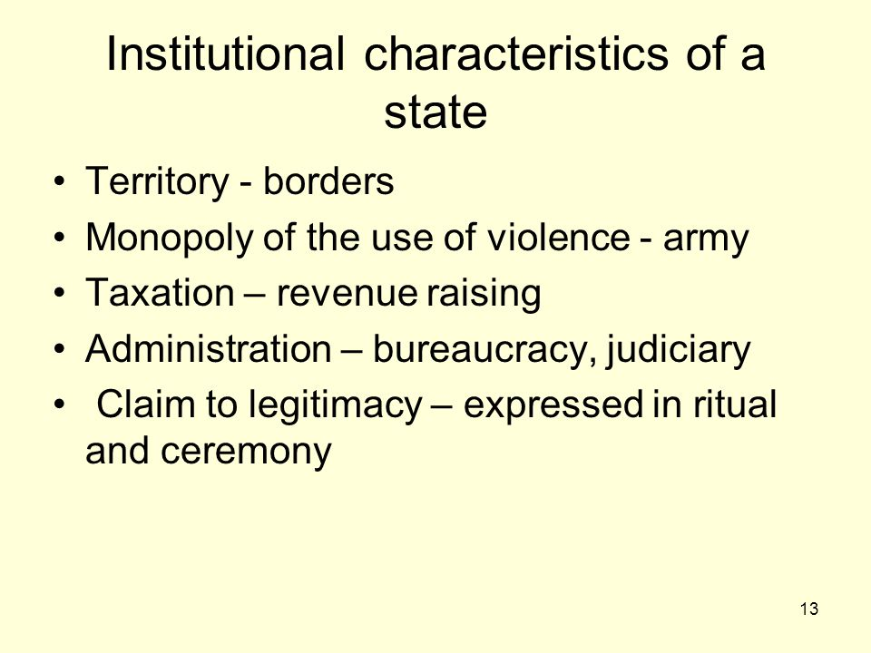 Institutional characteristics of a state