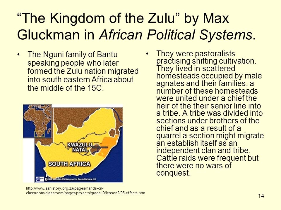 The Kingdom of the Zulu by Max Gluckman in African Political Systems.