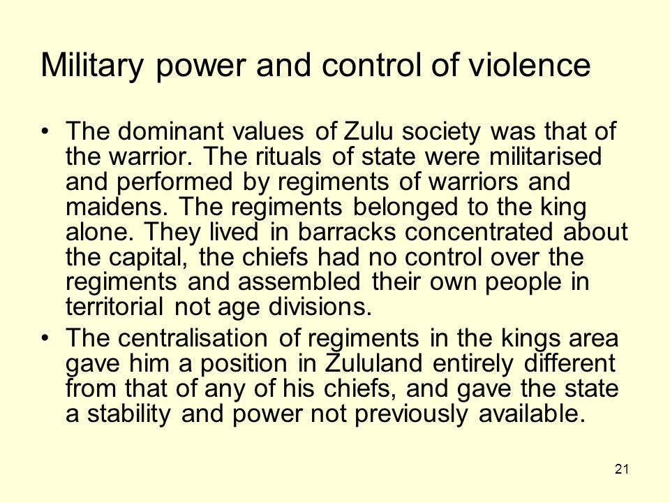 Military power and control of violence