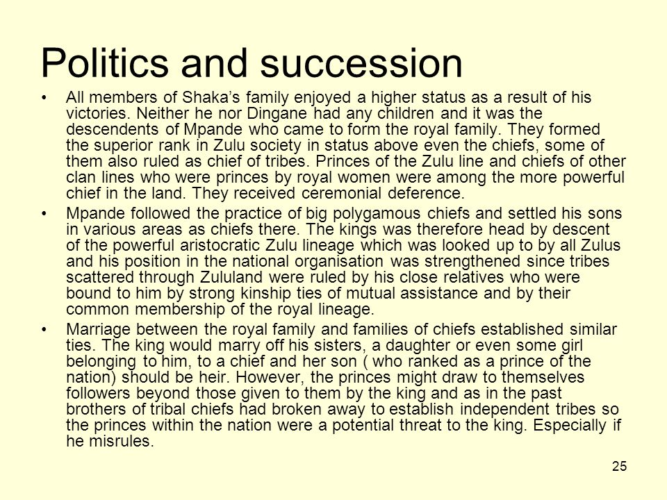 Politics and succession