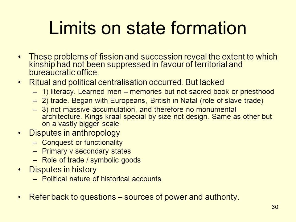 Limits on state formation