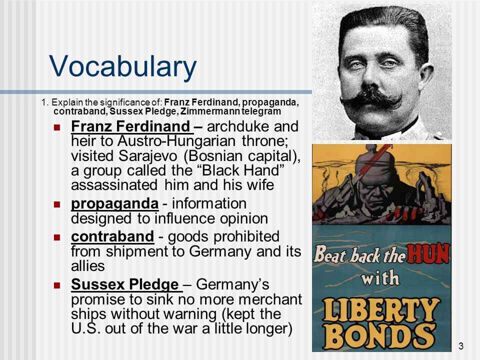 Vocabulary 1. Explain the significance of: Franz Ferdinand, propaganda, contraband, Sussex Pledge, Zimmermann telegram.