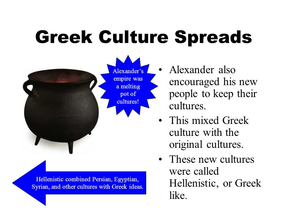 Greek Culture Spreads Alexander's. empire was. a melting. pot of. cultures! Alexander also encouraged his new people to keep their cultures.