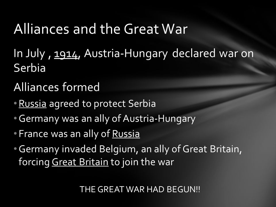 Alliances and the Great War