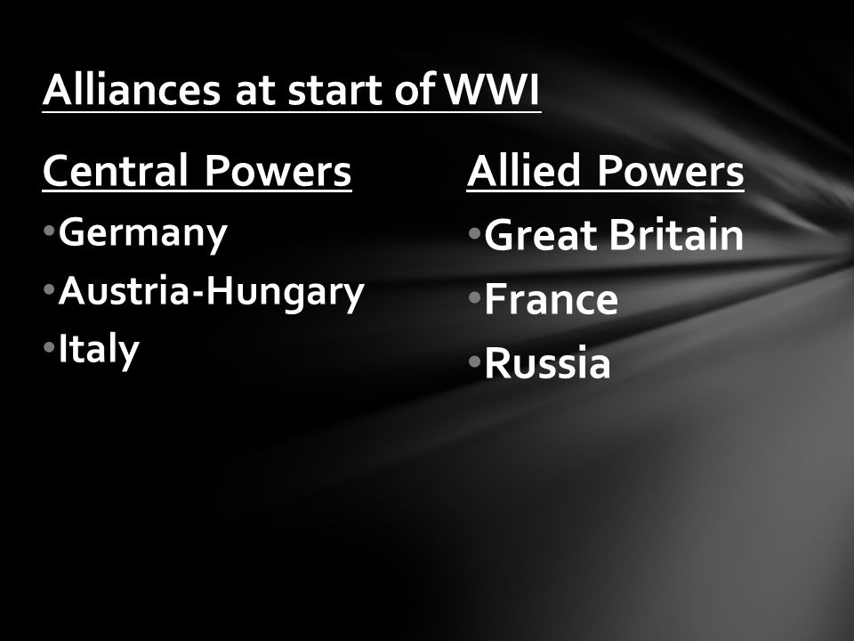 Alliances at start of WWI