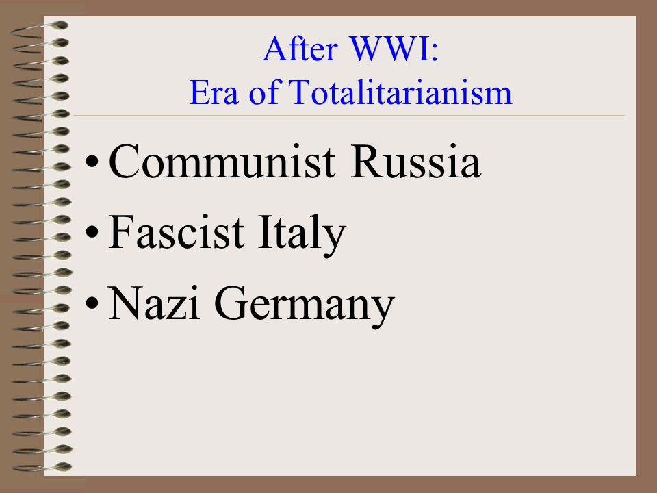 After WWI: Era of Totalitarianism
