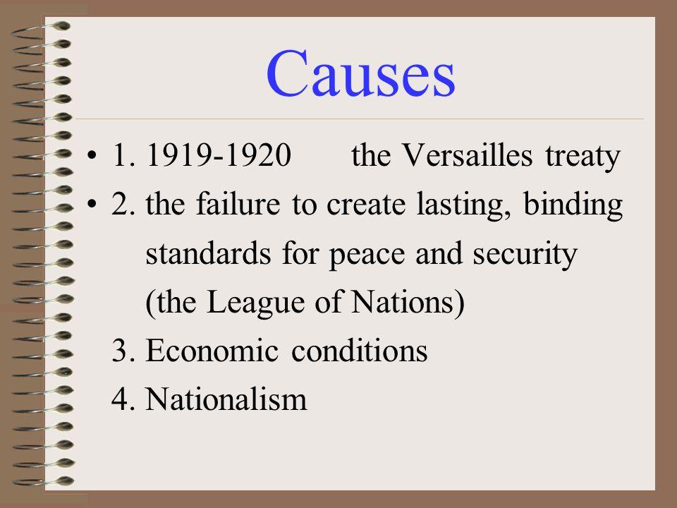 Causes 1. 1919-1920 the Versailles treaty