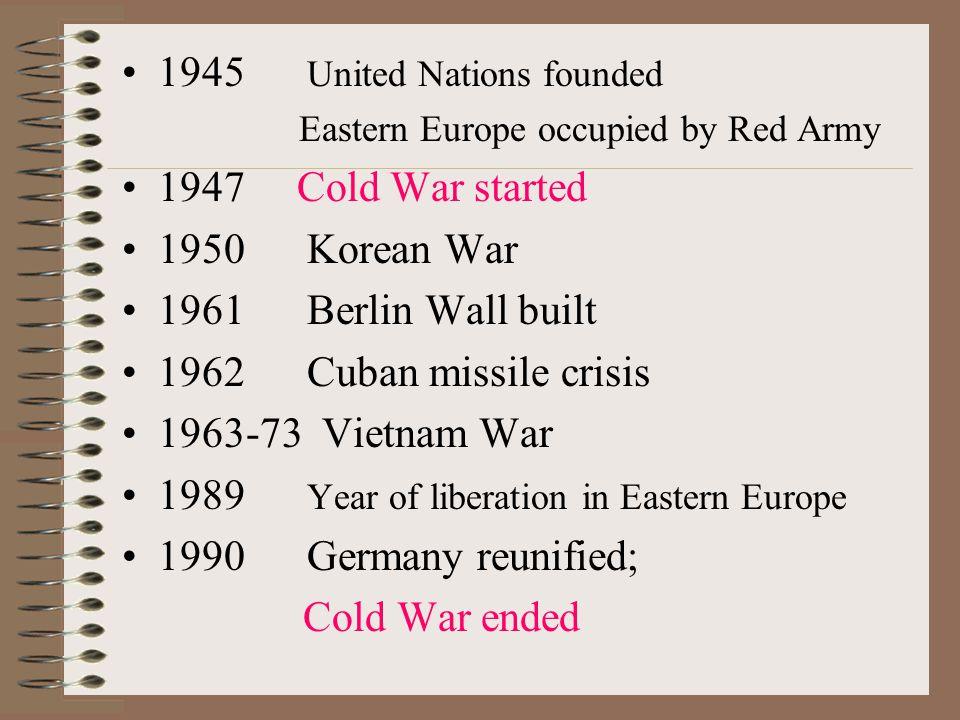 1945 United Nations founded 1947 Cold War started 1950 Korean War