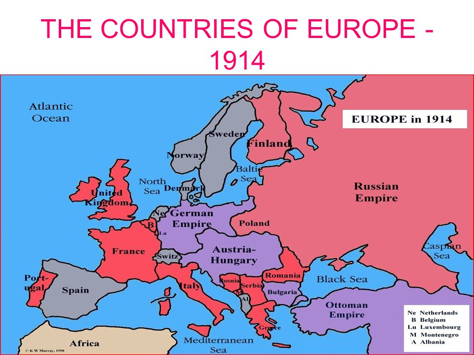 THE COUNTRIES OF EUROPE - 1914