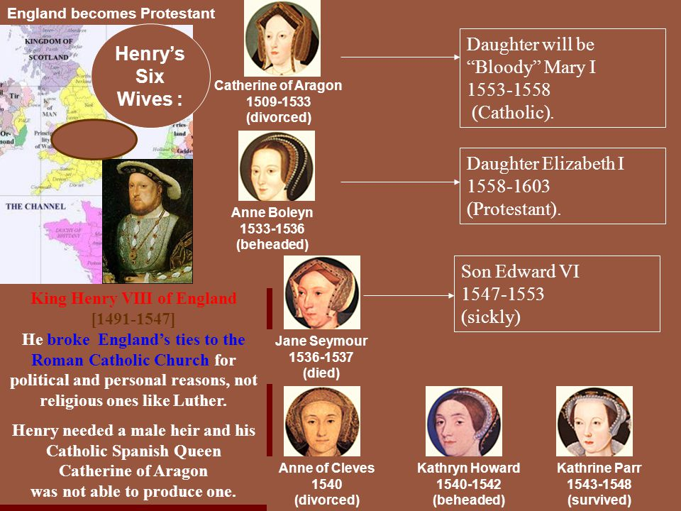 Daughter will be Bloody Mary I 1553-1558 (Catholic).