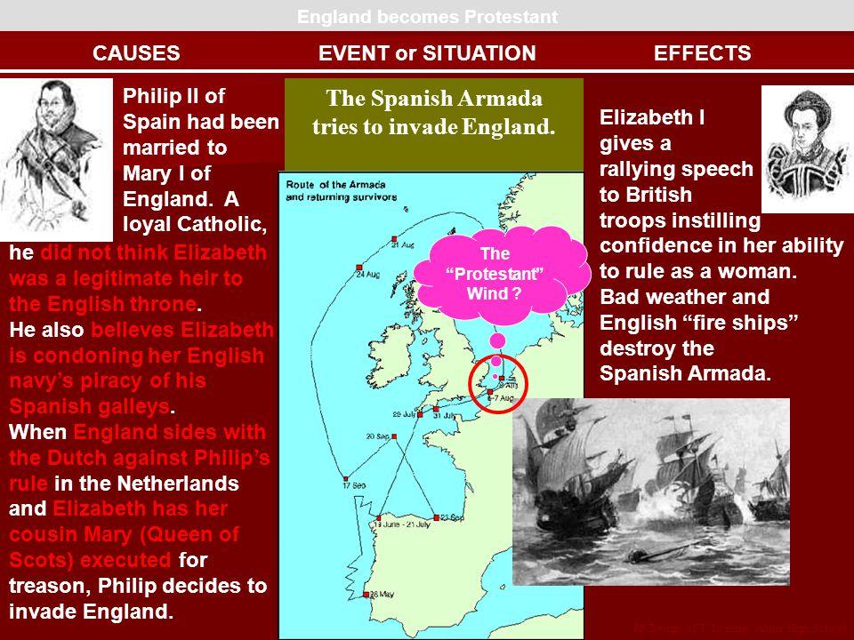 England becomes Protestant tries to invade England.