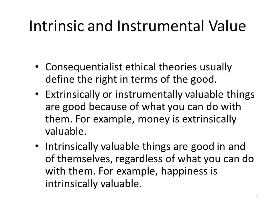 Sample Comparison Essay on Intrinsic Value Vs instrumental Value