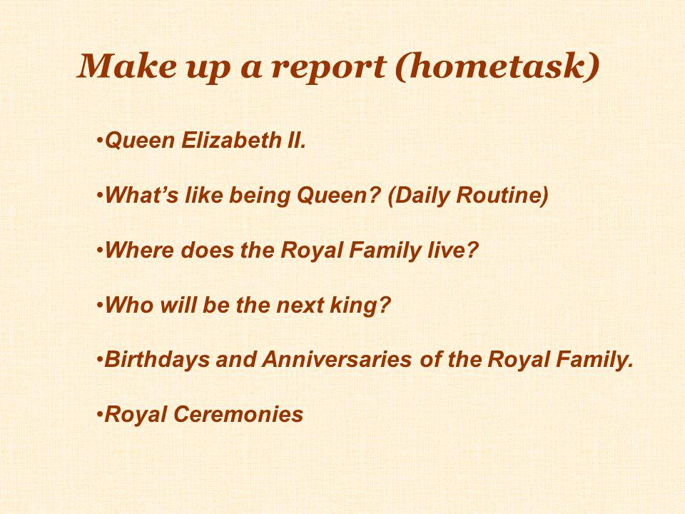Make up a report (hometask)