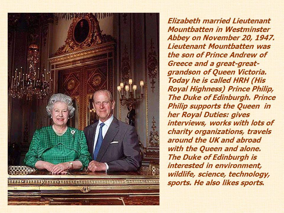 Elizabeth married Lieutenant Mountbatten in Westminster Abbey on November 20, 1947.