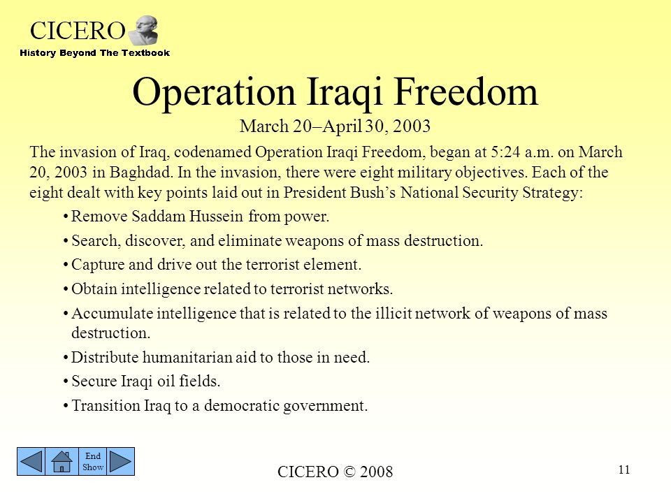 Operation Iraqi Freedom March 20–April 30, 2003