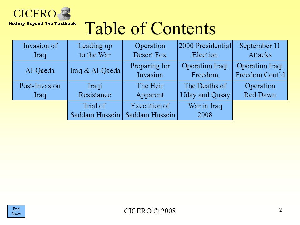 Table of Contents Invasion of Iraq Leading up to the War Operation