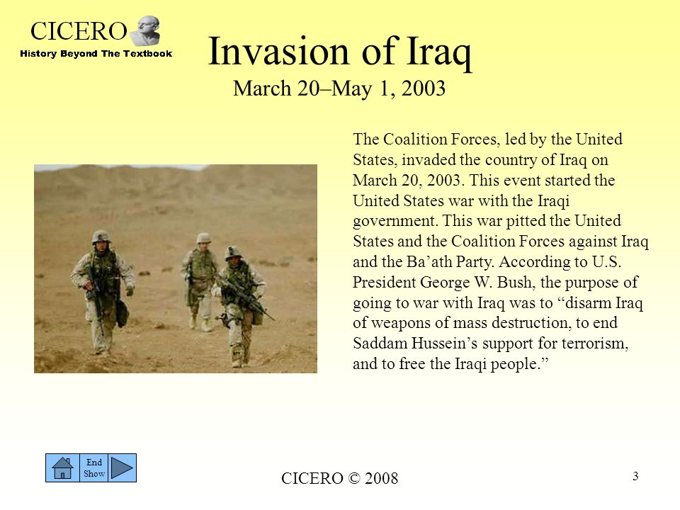 Invasion of Iraq March 20–May 1, 2003