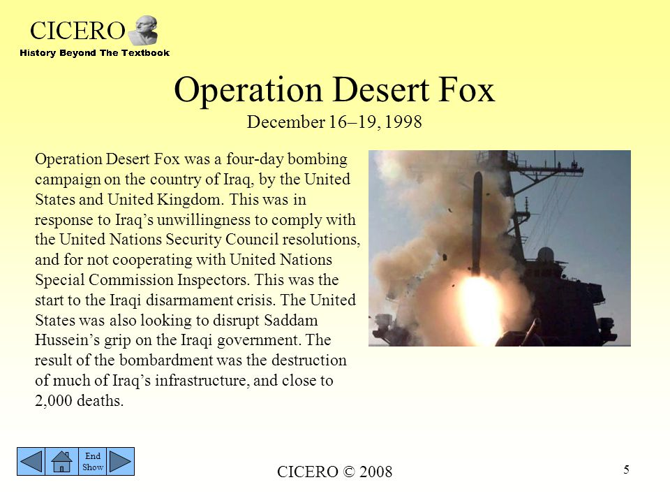 Operation Desert Fox December 16–19, 1998