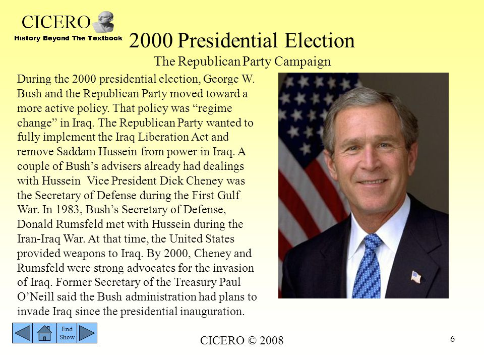 2000 Presidential Election The Republican Party Campaign