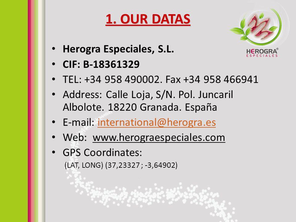 1. OUR DATAS Herogra Especiales, S.L. CIF: B-18361329