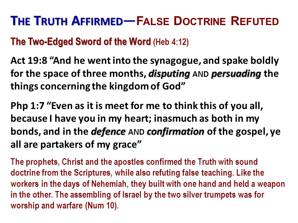 The Truth Affirmed—False Doctrine Refuted