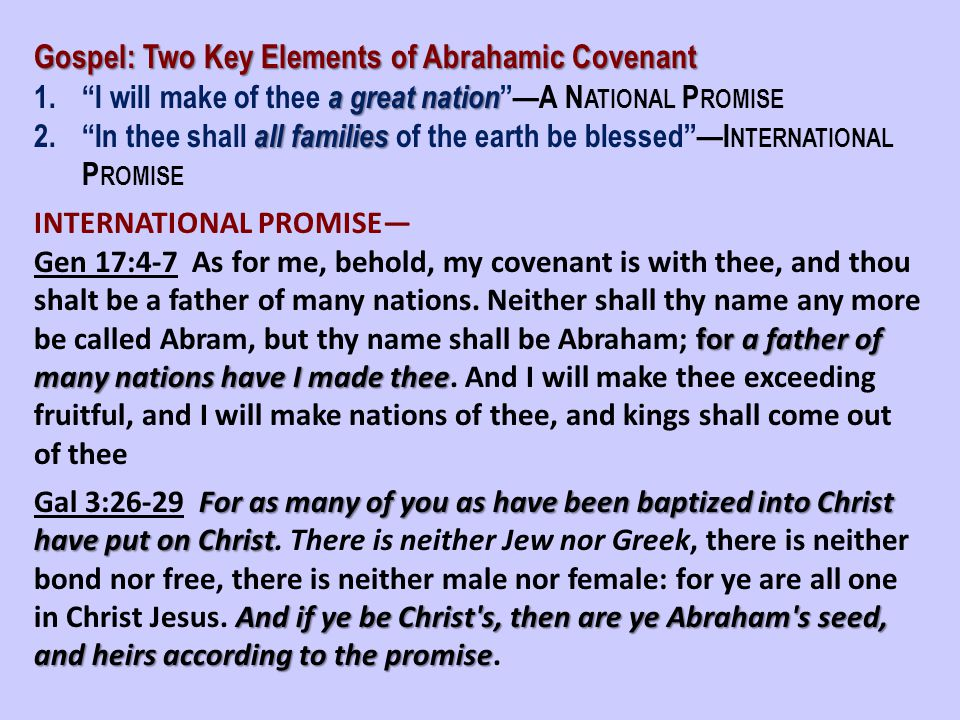 Gospel: Two Key Elements of Abrahamic Covenant