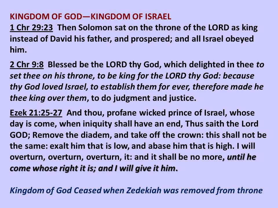 KINGDOM OF GOD—KINGDOM OF ISRAEL