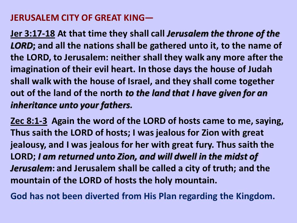 JERUSALEM CITY OF GREAT KING—