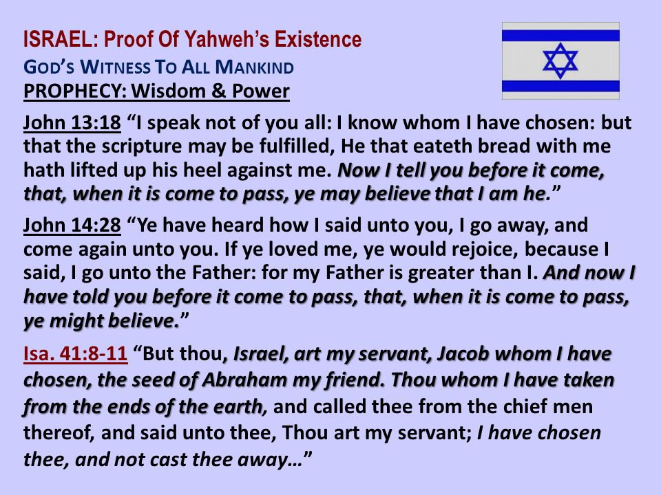 ISRAEL: Proof Of Yahweh's Existence