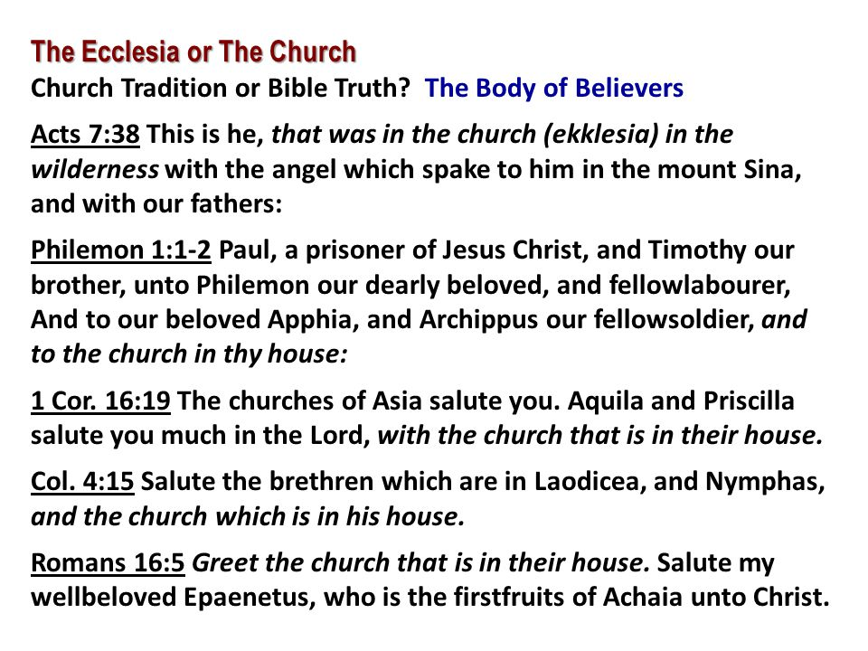 The Ecclesia or The Church