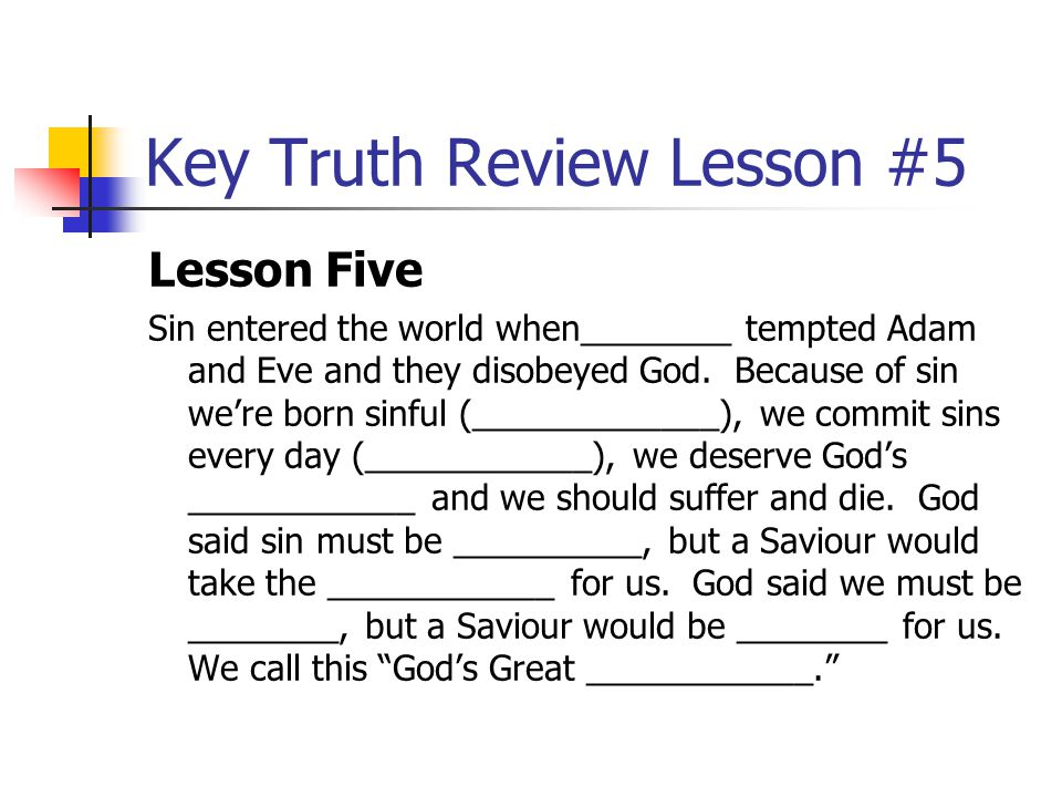 Key Truth Review Lesson #5