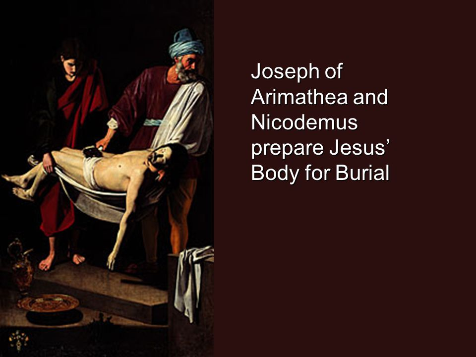 Joseph of Arimathea and Nicodemus prepare Jesus' Body for Burial