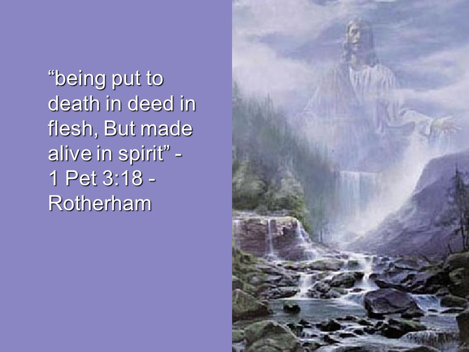 being put to death in deed in flesh, But made alive in spirit - 1 Pet 3:18 -Rotherham